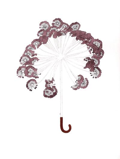Alraunenschirm, Tusche und Bleistift auf Papier, 29,7 x 21 cm, 2011