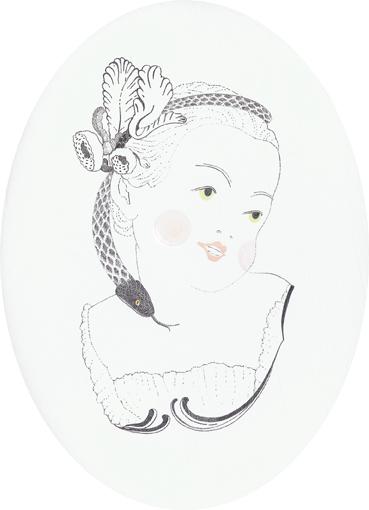 Eva - mit Engelszungen, Blei-/Buntstift und Lack auf Holz, 18 x 13 cm, 2012