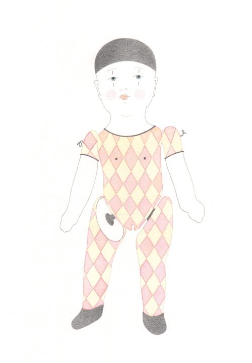 zartbitter Kollektion – Harlekin, Blei-/Buntstift und Tusche auf Papier, 40 x 30 cm, 2011