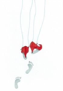 Auf leisen Sohlen, Blei-/Buntstift und Tusche auf Papier, 23 x 16 cm, 2011, sold