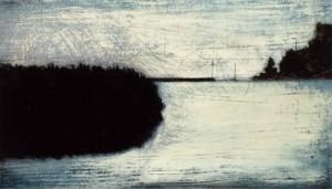 Mole mit Segelschiff, Öl und Lack auf Holz, 9,5 x 16,5 cm, 2007, sold