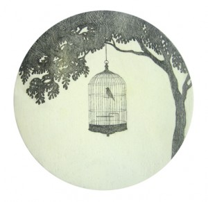 Nachtigall, Bleistift, Tusche und Lack auf Holz, Ø 11 cm, 2010, sold