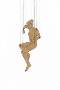 Am seidenen Faden, Scherenschnitt, Bleistift auf Papier, 12 x 8 cm, 2009, sold