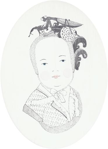 Sonntag - Gottesanbeterin, Blei-/Buntstift und Lack auf Holz, 18 x 13 cm, 2012