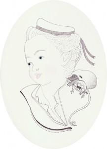 Meeresschaumgepflüster, Blei-/Buntstift und Lack auf Holz, 18 x 13 cm, 2012