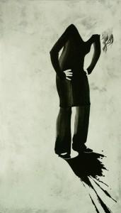 Figur, Öl, Lack und Bleistift auf Leinwand, 155 x 90 cm, 2006