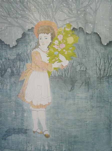 im dunklen Wald, Tusche, Bleistift und Lack auf Holz, 47 x 35 cm, 2010, sold