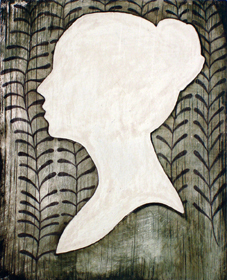 Scherenschnitt, Öl, Tempera und Bleistift auf Holz, 10 x 8 cm, 2007
