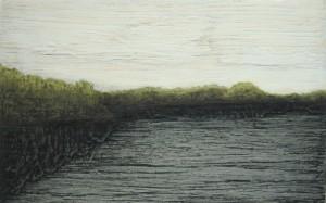 Seeufer, Öl auf Holz, 8,5 x 13,9 cm, 2008