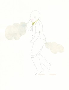 Luftatmer, aquarellierte Zeichnung, 30 x 40 cm, 2013