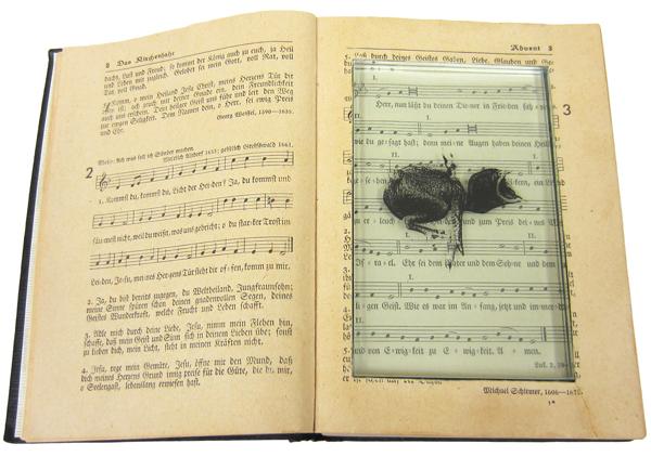 Gesangsbuch, Assemblage, 14,5 x 21,5 x 3 cm