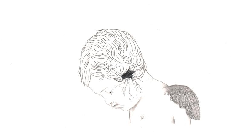 gefallender Engel, Bleistiftzeichnung, 23 x 13,5 cm
